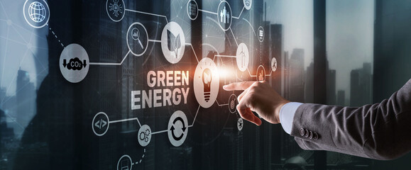 Fototapeta Green Energy Natural Ecology Power electric speed creative. Technology ecology concept obraz