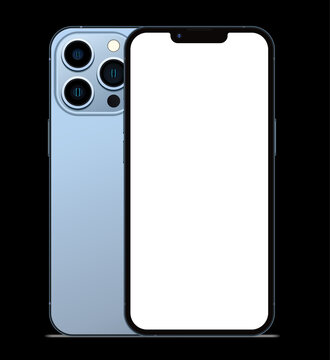 Anapa, Russian Federation - September, 14, 2021: New Sierra Blue Color Iphone 13 Pro, Front and back side. Smartphone mock up with white screen one black background. Illustration for app, web, design.