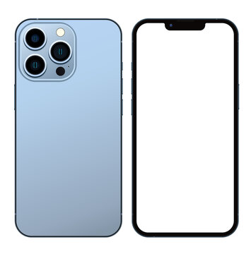 Anapa, Russian Federation - September, 14, 2021: New Sierra Blue Color Iphone 13 Pro, Front and back side. Smartphone mock up with white screen. Illustration for app, web, presentation, design.