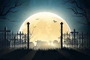 Fototapeta realistic halloween cemetery background vector design illustration obraz