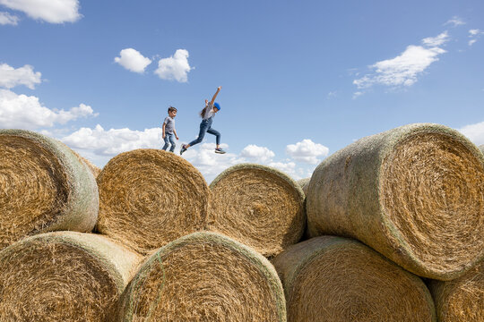 Carefree brother and sister playing on rolled hay bales on sunny farm