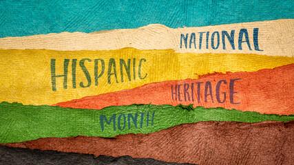 Fototapeta September 15 - October 15, National Hispanic Heritage Month - handwriting in Huun paper handmade in Mexico, reminder of cultural event obraz