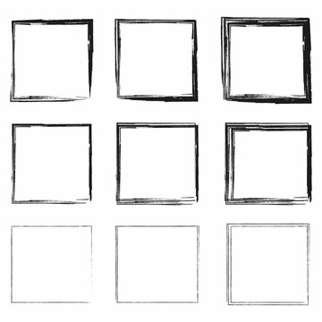 Line art ink square icon set. Geometric figure silhouette. Hand drawn square frame. Vector illustration. Stock image.