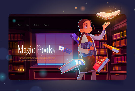 Magic books cartoon landing page, young girl in library at night time with glowing volumes flying around. Curious child in dark reader club room with bookcases, reading hobby, Vector web banner.