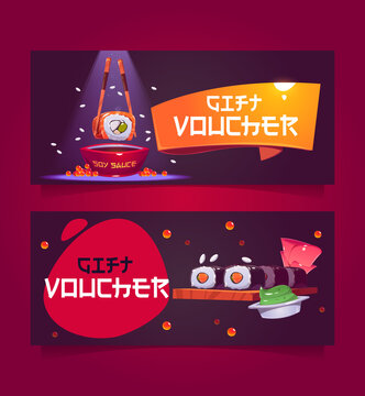 Gift voucher template with sushi illustration. Vector coupon for japanese restaurant with cartoon traditional asian food, rice rolls with fish, soy sauce and ginger. Promotion flyers with present