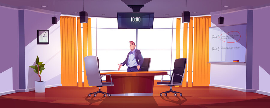 Businessman in conference room for meetings, presentation for team, discussion or training. Vector cartoon illustration of man in of boardroom in company office with table, chairs, screen and board