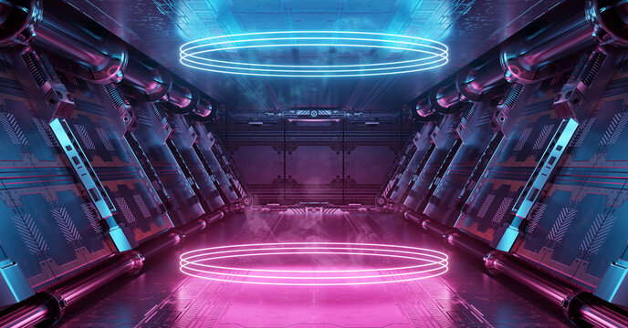 Blue and pink spaceship interior with glowing neon lights podium on the floor. Futuristic corridor in space station with circles background. 3d rendering