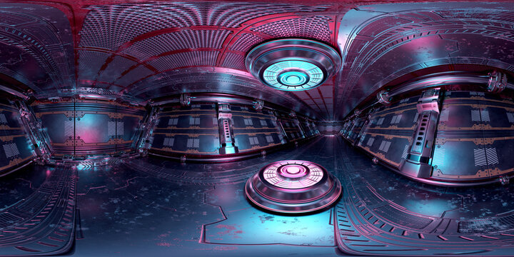 HDRI panoramic view of dark blue pink spaceship interior. High resolution 360 degrees panorama reflection mapping of a futuristic spacecraft with projector 3D rendering
