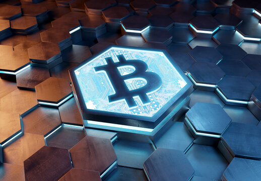 Bitcoin icon creativity concept engraved on metal hexagonal pedestral background. Crypto currency symbol glowing on abstract digital surface. 3d rendering