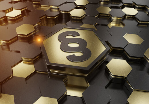 Law icon concept engraved on gold hexagonal pedestral background. Paragraph justice logo glowing on abstract digital surface. 3d rendering