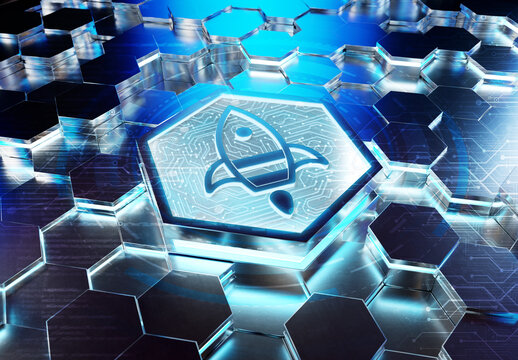 Spaceship icon innovation concept engraved on metal hexagonal pedestral background. Rocket startup logo glowing on abstract digital surface. 3d rendering