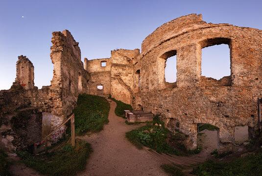 Ruin of castle Pozavsky hrad, Slovakia at sunrise landscape