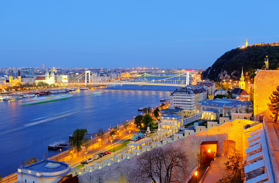 Night view of river Danube and city Budapest, Hungary