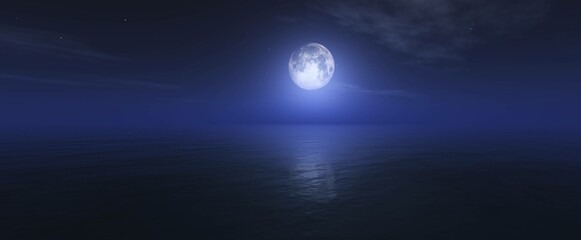 Obraz Moon over ocean surface, night seascape with moon, - fototapety do salonu