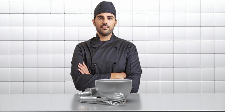 Chef cook in black uniform, kitchen interior background. 3d illustration