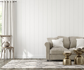 Farmhouse living room interior background, wall mockup, 3d render
