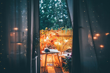 Eco friendly autumn bamboo terrace at the night.