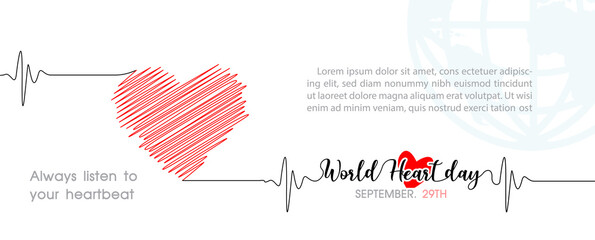 Hand draw and one line style in a Heart shape and pulse with the name of event lettering, example texts on blue global and white background. Poster's campaign of World heart day in vector design.