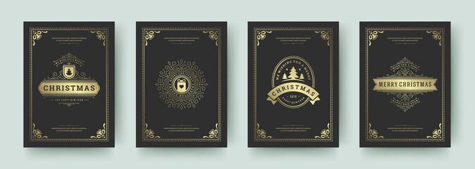 Obraz Christmas greeting cards set vintage design, ornate decoration symbols and winter holidays wishes vector illustration - fototapety do salonu