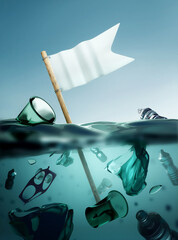 plastic waste floating in the open ocean with a white flag of surrender. Climate and environmental plastic pollution crisis. 3D illustration.
