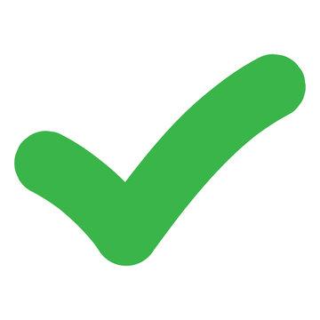 Checkmark tick. Correct symbol in green. Yes sign. Green checkmark illustration. Vote icon