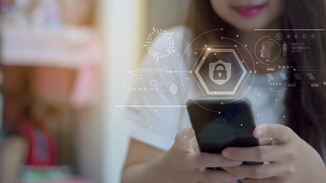A woman uses a smartphone system, an infographic showing the innovative security protection of the future.