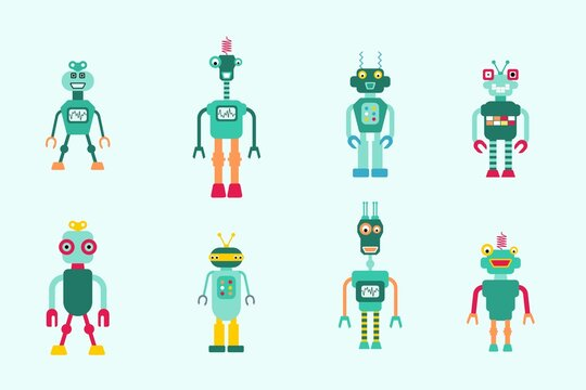 Toy robots illustration collection