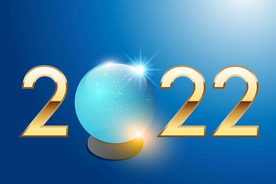 2022 sur le concept de la stratégie visionnaire et de la prise de risque dans l'investissement des entreprises, avec une boule de cristal pour prévoir l'avenir.