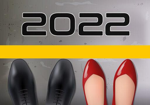Concept de carte de vœux 2022 pour la lutte contre la discrimination entre les sexes, avec pour symbole les pieds d'un homme et d'une femme sur la ligne de départ d'une course.