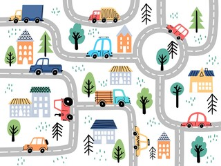 Fototapeta Kids city map with roads and cars for children nursery decor. Village or town street maze for carpet. Cartoon board game vector background obraz