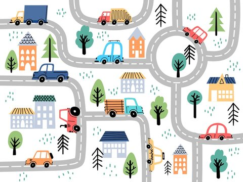 Kids city map with roads and cars for children nursery decor. Village or town street maze for carpet. Cartoon board game vector background
