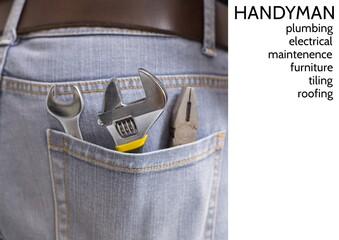 Handyman text over close up view of multiple tools in the jeans pocket of repairman