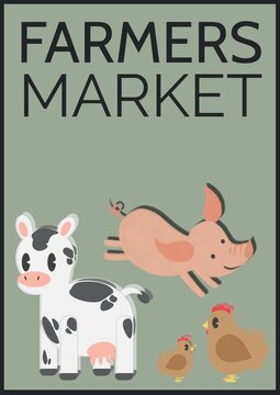 Farmers market text over cow, pig and chicken icons on green background