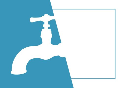 Digitally generated image of water tap icons against blue and white background