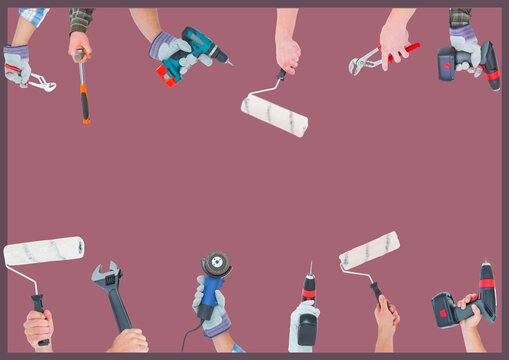 Digitally generated image of multiple hands holding different tools against red background
