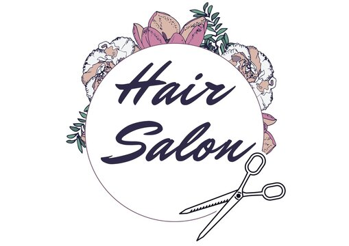 Floral designs over hair salon text on round banner with scissors icon against white background