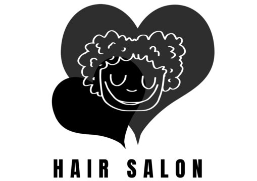 Man icon over two hearts icon with hair salon text against white background