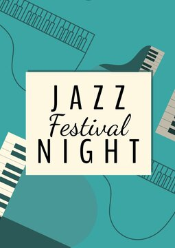 Jazz festival night text banner against musical instruments on green background