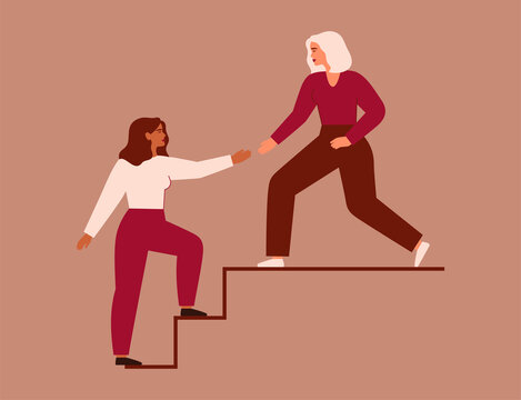 Women support each other. Two females rise up together on the stairs. Woman extends a helping hand to her friend. Woman helps her colleagues to climb career ladder. Vector illustration