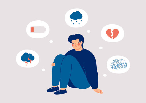 Sad man who suffers from mental health illness is sitting on the floor. Boy surrounded by symptoms of depression disorder: anxiety, crisis, tears, exhaustion, loss,  overworked, tired. Vector