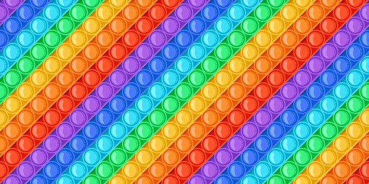 Cartoon rainbow pop it toy bubbles seamless pattern. Antistress sensory push toys. Trendy relaxation pop fidget game colorful vector texture