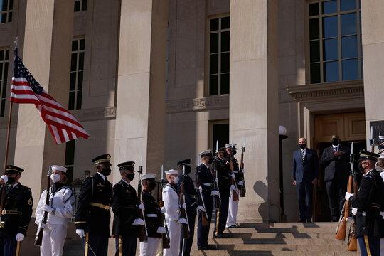 Enhanced honor cordon hosted by U.S. Defense Secretary Austin to welcome Australia's Defense Minister Dutton, in Washington