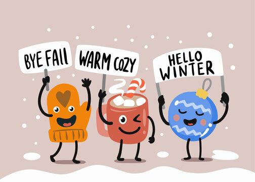 Fun vector characters say goodbye to winter.