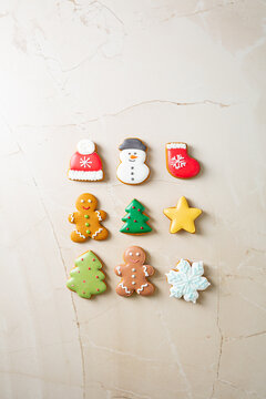 Merry Christmas concept decorated cookies with icing