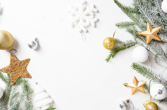 Light copy space with Christmas decorations festive greeting card