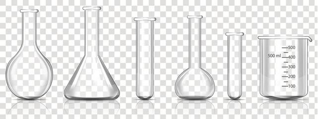 Obraz Set of Transparent Laboratory Glassware Equipment, realistic vector illustration - fototapety do salonu