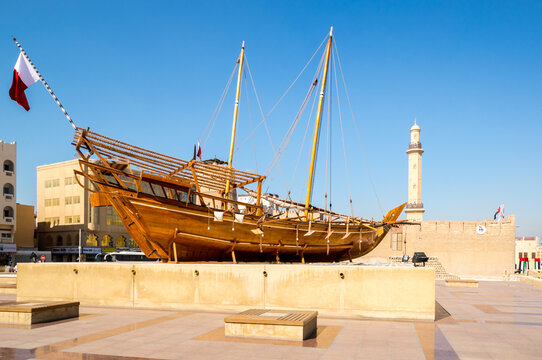 Traditional wooden arabic ship in historical museum in Dubai