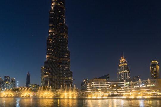 The Dubai Fountain is a choreographed fountain system located on the Burj Khalifa Lake