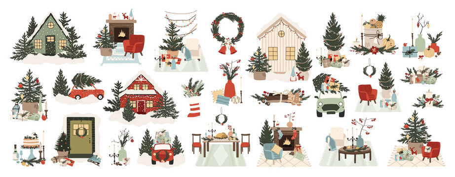 Christmas home interior with holiday decorations wreath, tree, gift, candles, table with food, fireplace with armchair. Cozy winter outside house interior. Vector illustration in cartoon flat style