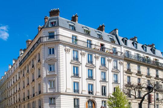 Paris, beautiful buildings, avenue de la Republique in the 11e district